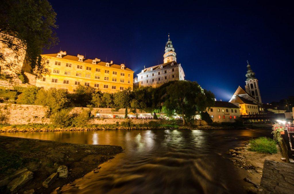 Český Krumlov castle during night walking tour