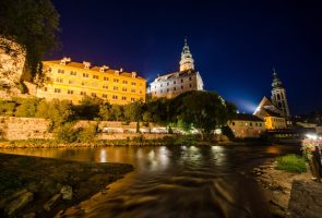 Český Krumlov castle during night walking tour